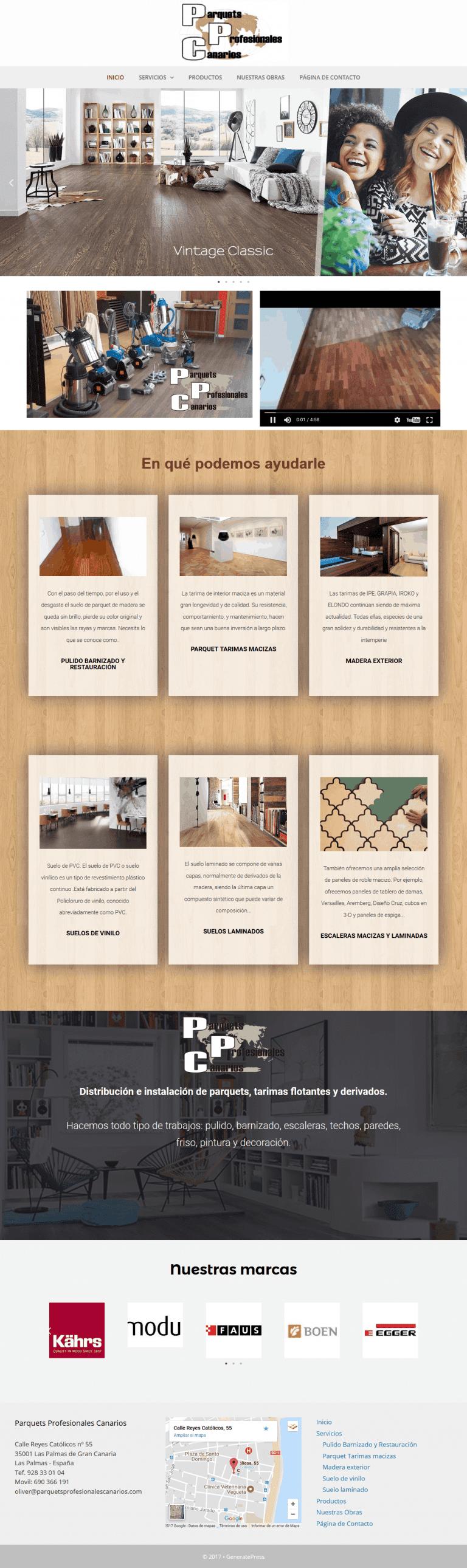 diseño web corporativo para empresa de parket en Las Palmas de Gran Canaria