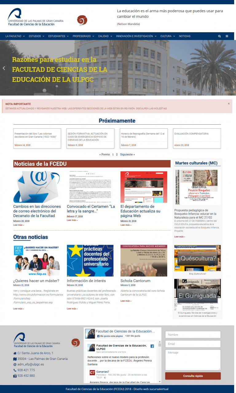 portal web de la facultad de Ciencias de la eduacion de la ULPGC